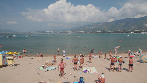Gelendzhik city beach Stock Video Footage