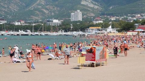 Gelendzhik city beach Stock Video Footage