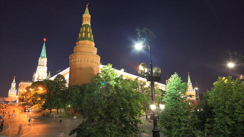 Kremlin night timelapse Stock Video Footage