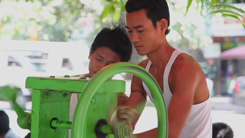 Cane juice preparation Stock Video Footage