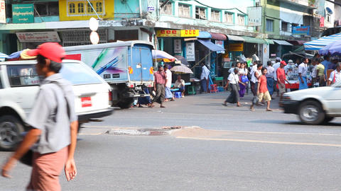 Yangon Street , Myanmar Stock Video Footage