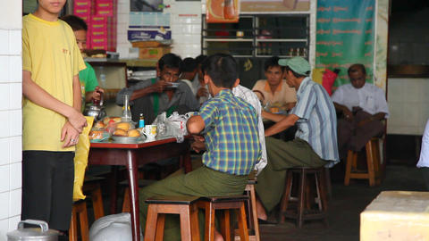 Fastfood cafe in Yangon Footage