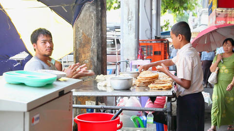 Fastfood cooking in Yangon Stock Video Footage