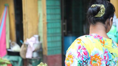 Seller on Street market in Yangon, Myanmar Stock Video Footage