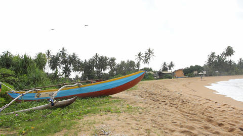 The traditional Sri Lanka's boat for fishing Stock Video Footage