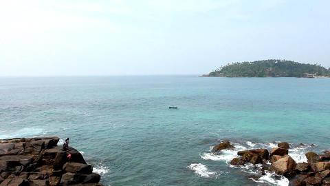 Boat on Sea in Mirissa Beach Stock Video Footage