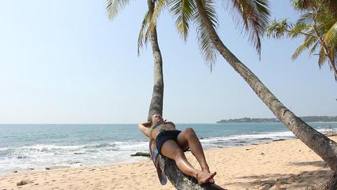 Woman lying on palm tree Stock Video Footage