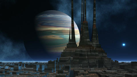 The temple of aliens against the gas giant Stock Video Footage