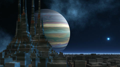 The temple of aliens against the gas giant Animation
