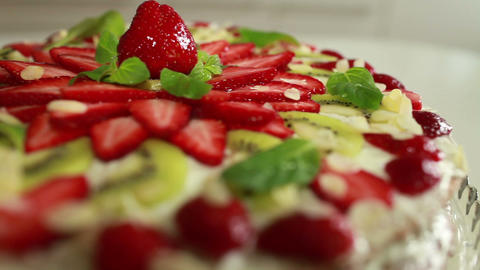 cake with strawberries Stock Video Footage