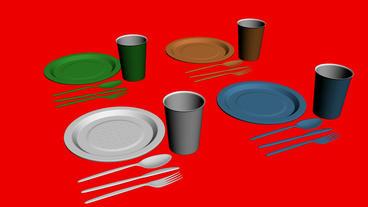 Rotation Of 3D Tableware.dishware,fork,restaurant,dinner,knife,plate stock footage