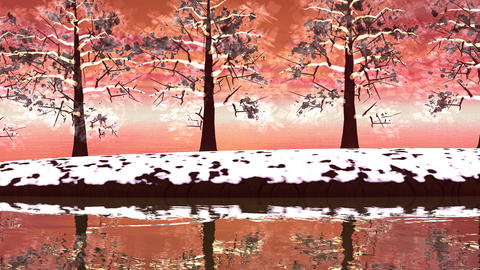 Winter trees landscape - 3D render Stock Video Footage