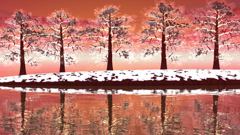 Winter Trees Landscape - 3D Render stock footage
