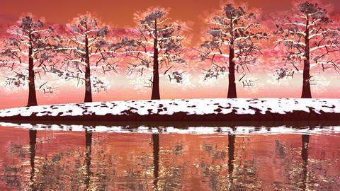 Winter trees landscape - 3D render Animation