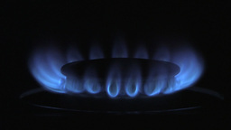 Blue Gas Flame Burning Brightly In The Dark Footage