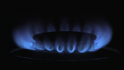 Blue Gas Flame Burning Brightly In The Dark Stock Video Footage