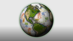 Money-Themed Rotating Globe With Multi-Coloured Euro... Stock Video Footage