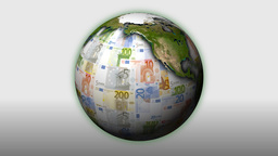Money-Themed Rotating Globe With Multi-Coloured Euro Currency Notes As Background Animation