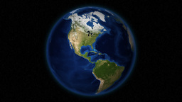 Green-Covered North America's Satellite View In Stationary Planet Earth Animation