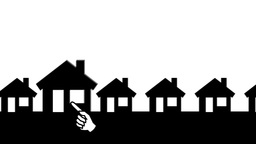 White Arrow Zooming In Animated Houses (White Background) Animation