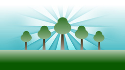 Animated Green Trees Against Blue Background Rays Animation