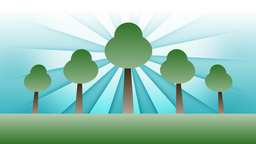 Animated Green Trees Against Blue Background Rays Stock Video Footage