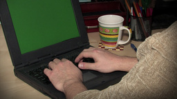 Man Working On Laptop (Green Screen) Stock Video Footage