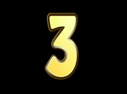 Animated Gold Embossed Number Three Sign Stock Video Footage