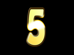 Animated Gold Embossed Number Five Sign Stock Video Footage