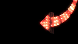 2D Animated Red Flashing Curved Arrow Stock Video Footage