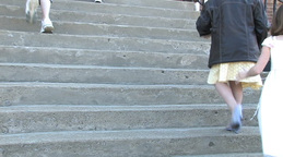 Children climbing the stairs Stock Video Footage