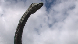 Concrete Creature Overlooking With White Clouds And Blue... Stock Video Footage