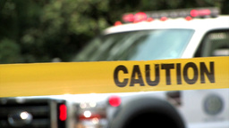 Caution tape at an accident scene Stock Video Footage
