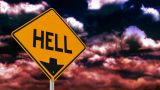 Hell Is Down Sign stock footage