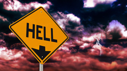 Hell is down sign Stock Video Footage