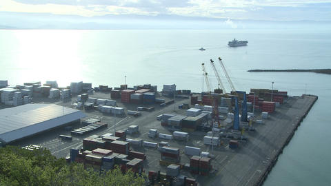 departing ship distant time lapse Stock Video Footage