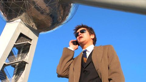 Mid shot businessman on phone Stock Video Footage