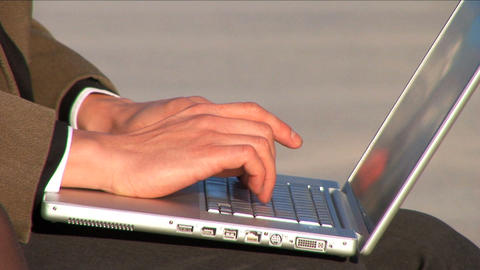 Close up of laptop with hands Stock Video Footage