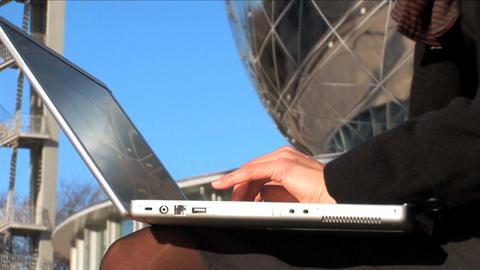 Close up tilt shot businesswoman on laptop Stock Video Footage