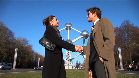 Wide shot of successful business people meeting Stock Video Footage