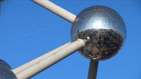Close shot of Brussels Atomium Stock Video Footage