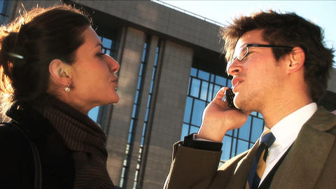 Business couple in city meeting on mobile, close up Stock Video Footage
