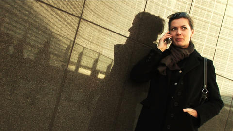 Businesswoman on mobile in city Stock Video Footage