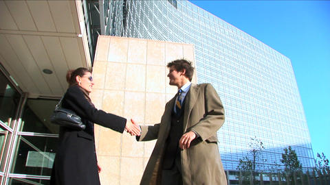 Business couple in city meeting Footage