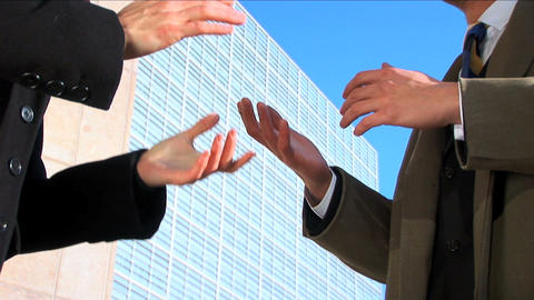 Business couple in city meeting hands, close up Stock Video Footage
