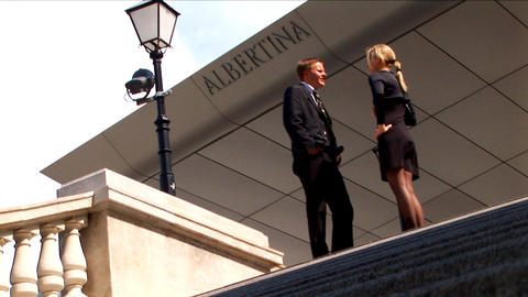 Business couple at their European conference Stock Video Footage