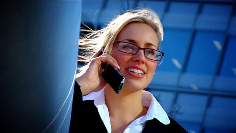 Attractive blonde businesswoman working with technology Footage