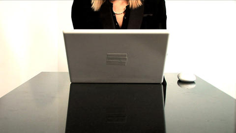 Beautiful blonde businesswoman works from home Footage