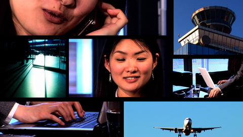 Collection of business people and technology in a montage Stock Video Footage