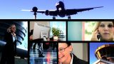 Collection Of Business People And Technology In A Montage stock footage